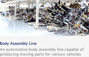 Body Assembly Line An automotive body assembly line capable of producing moving parts for various vehicles