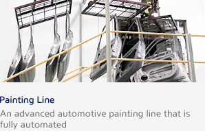 Painting Line An advanced automotive painting line that is fully automated
